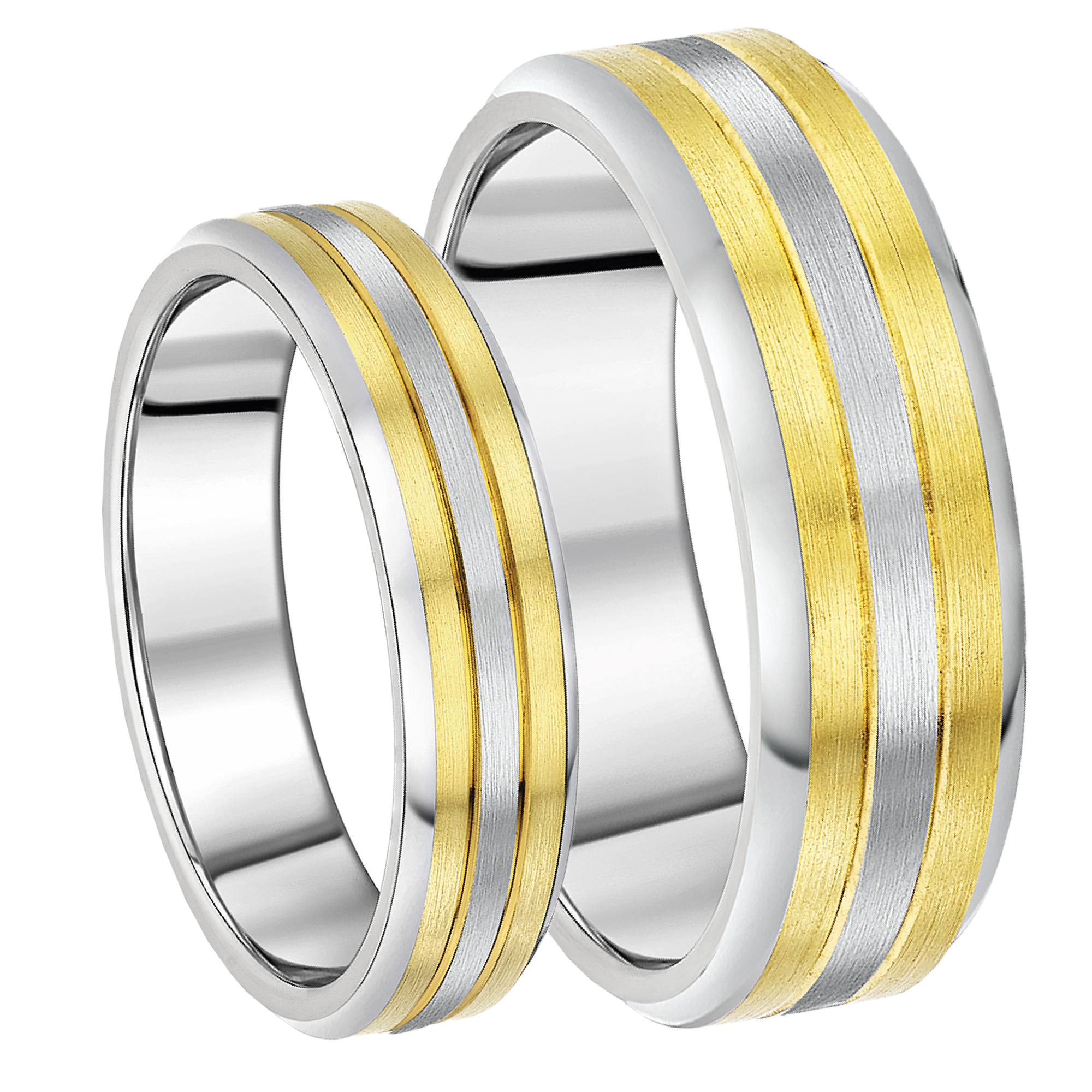 His & Hers 6&8mm Titanium Two Tone Wedding Rings