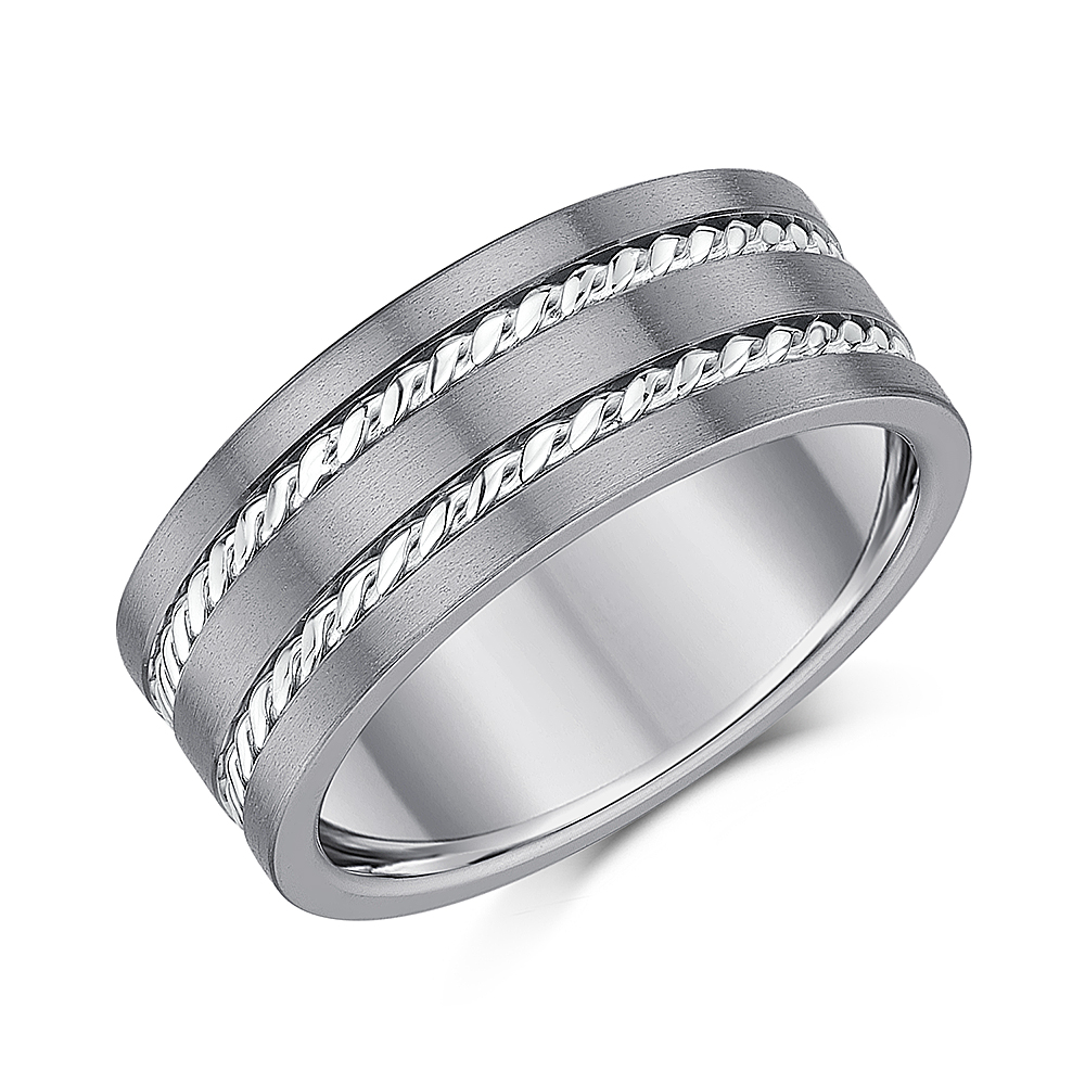 9mm Titanium Rope Patterned Wedding Ring*Sale Limited Stock*