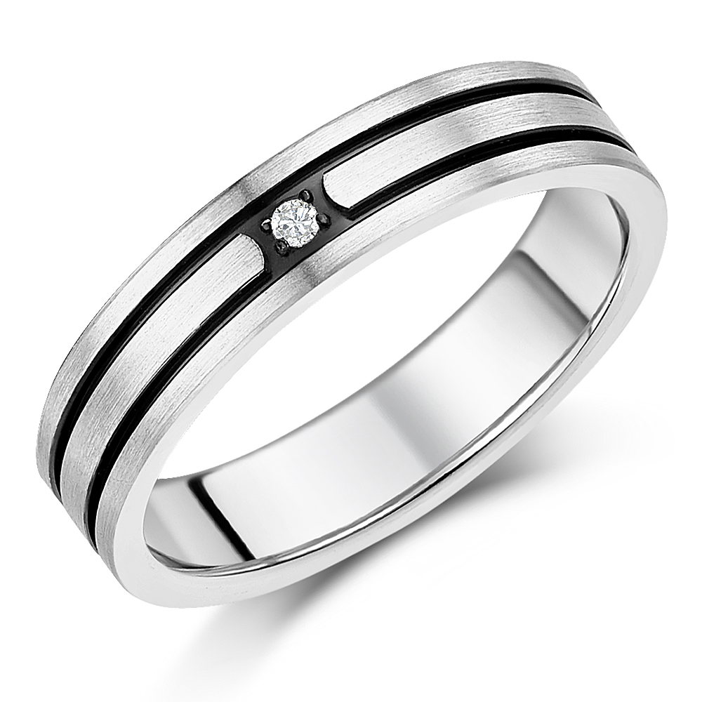 5mm Titanium Diamond Black Grooved Engagement Wedding Ring