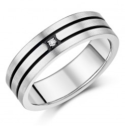 7mm Men's Titanium Black Grooved Diamond Ring