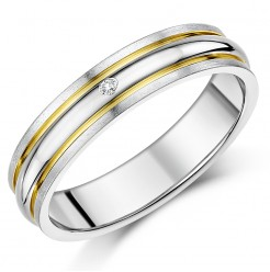 5mm Titanium Diamond Double Grooved Two Tone Ring