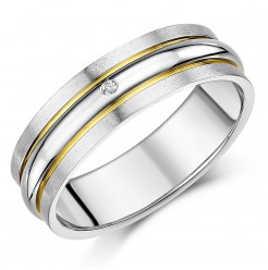 7mm Men's Titanium Diamond Double Grooved Two Tone Ring