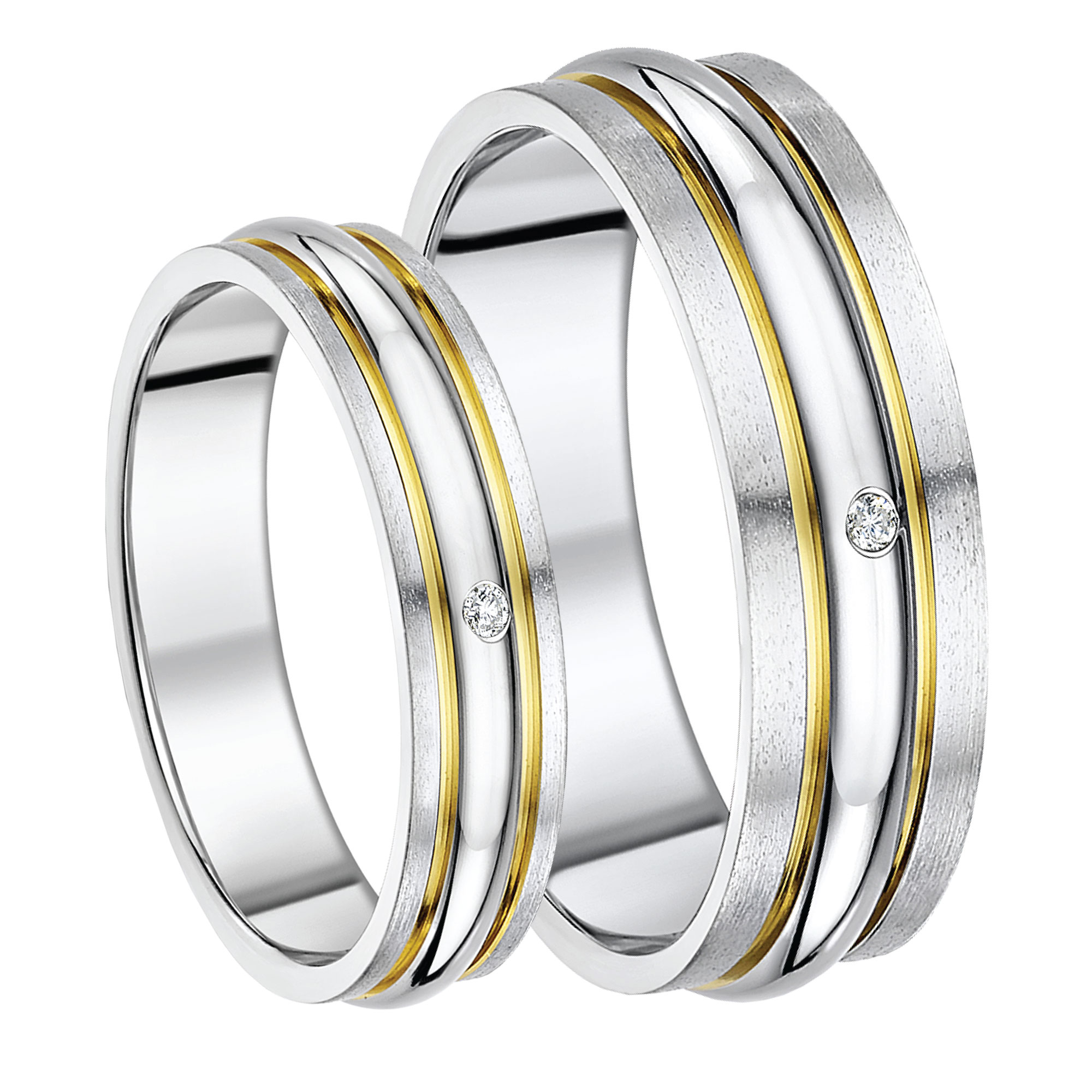 His & Hers 5&7mm Titanium Diamond Double Grooved Two Tone Ring