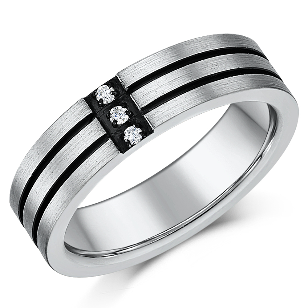 5mm Mens Titanium Three Diamond Two Black Lined Grooved Ring