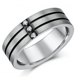 7mm Mens Titanium Three Diamond Two Black Lined Grooved Ring