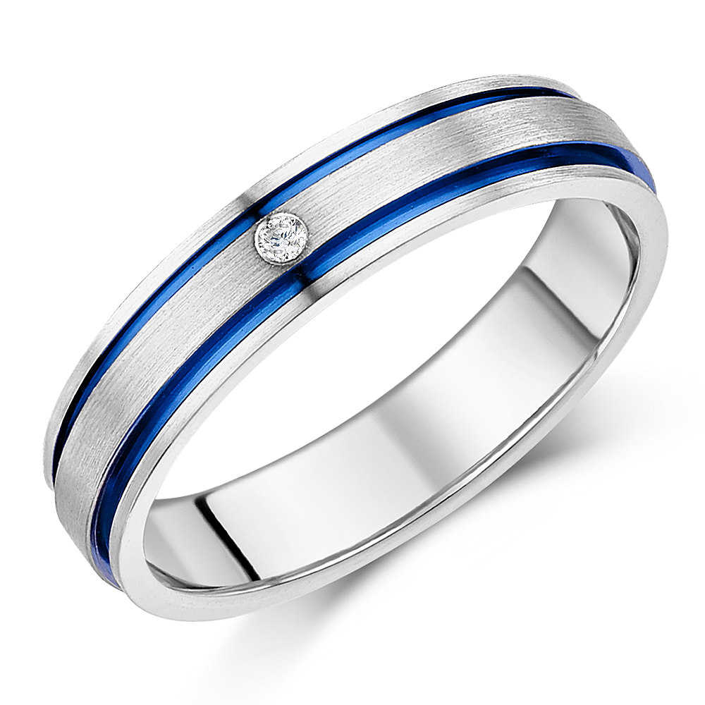 5mm Titanium Diamond Blue Grooved Inlay Engagement Wedding