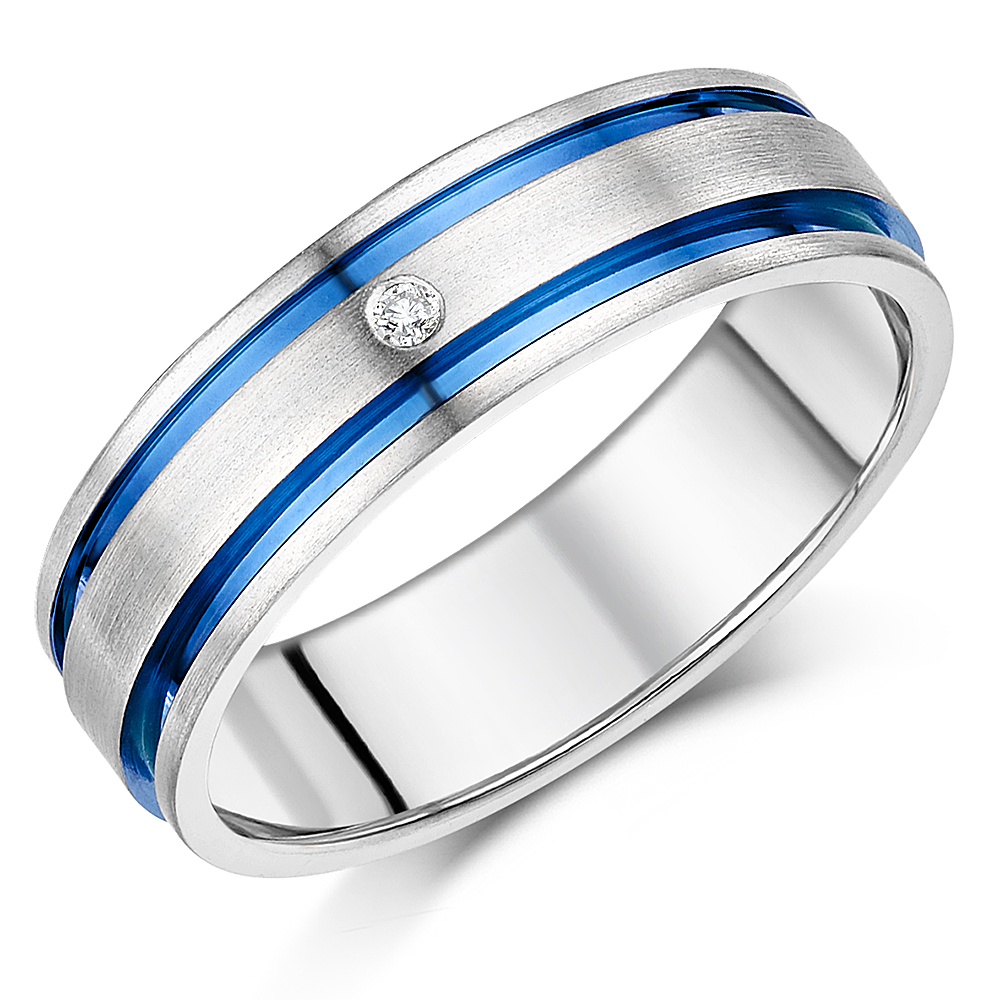 7mm Mens Titanium Diamond Blue Inlay Engagement Wedding Ring