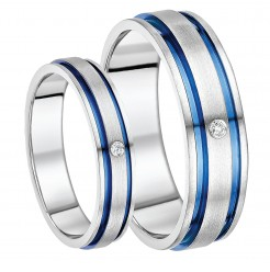 His & Hers 5&7mm Titanium Diamond Blue Grooved Inlay Engagement