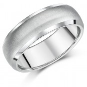 7mm Titanium Ring Band Matt & Polished Engagement Ring