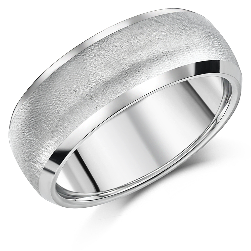 8mm Men's Titanium Ring Matt & Polished Engagement Wedding Ring Band