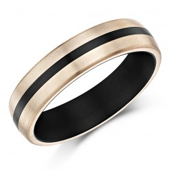 6mm Titanium Striped wedding ring Ring