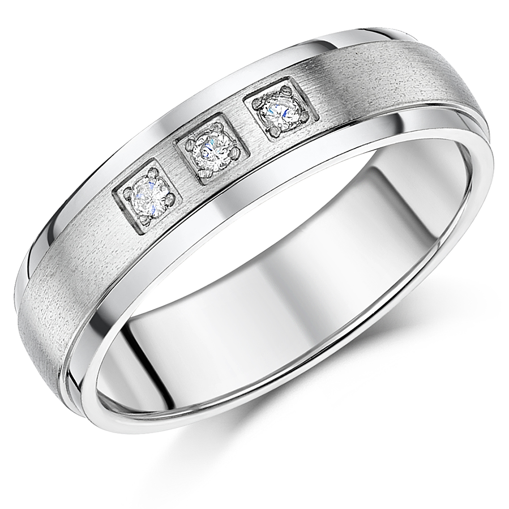 6mm Men's Titanium Diamond Ring Matt & Polished