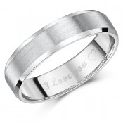 "6mm Titanium Court Shaped Ring Engraved ""I Love You ♡\'\'"