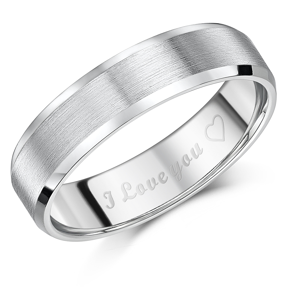 6mm Titanium Court Shaped Ring Engraved