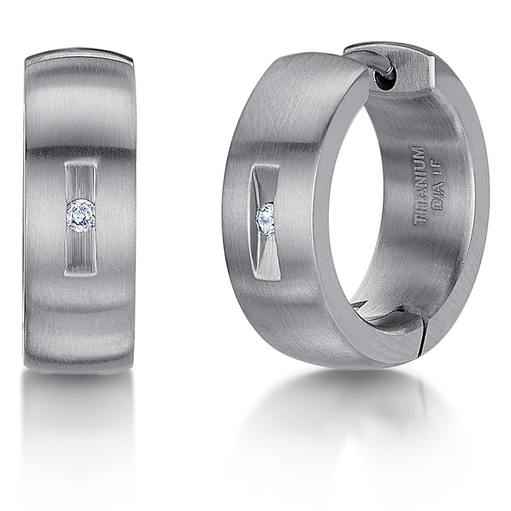 Titanium Diamond Hinged Hoop Earring