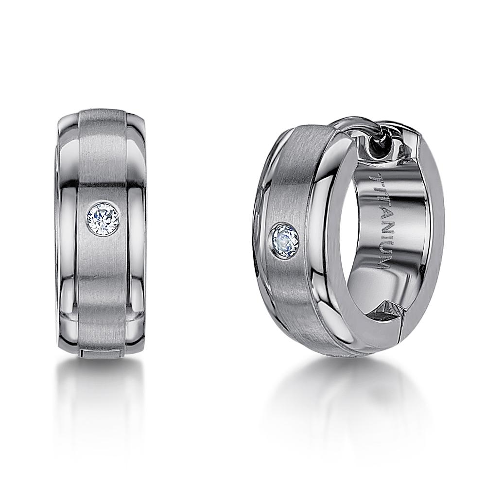 Men's Titanium Earring Matt & Polished Hinged Hoop Earring Cz Stone Earring