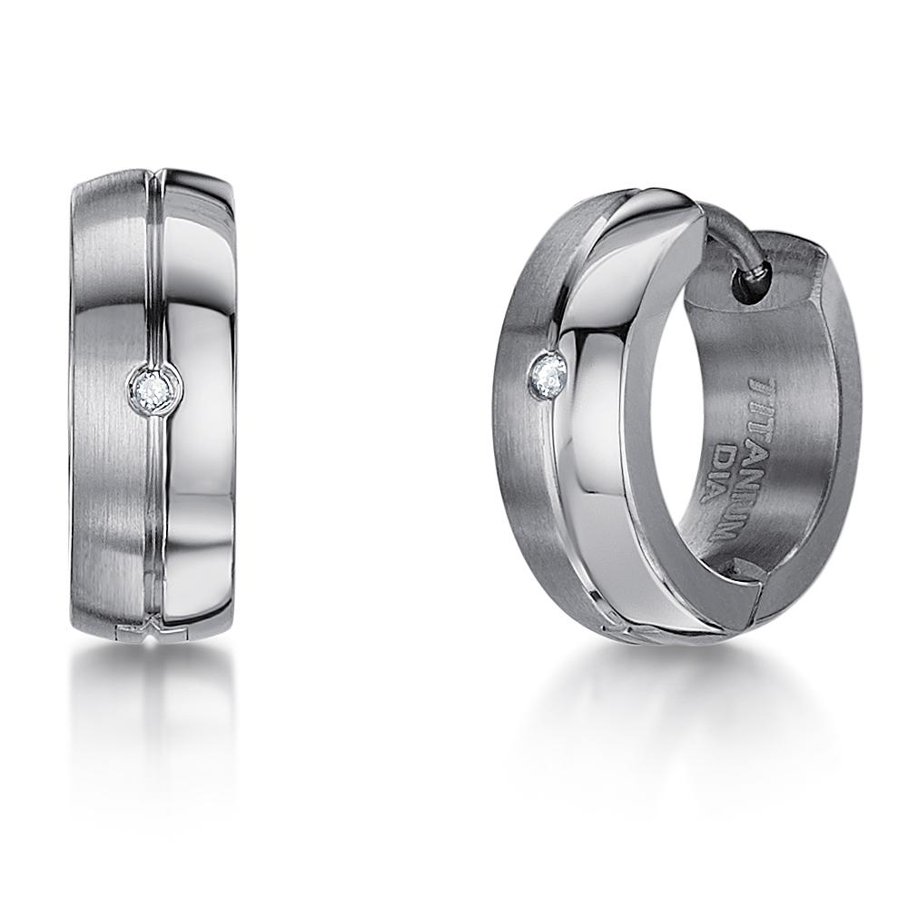 Titanium Earring With Single Diamond Stud