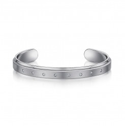 Men's Titanium Cuff Bangle Bracelet With 8 x 5p Stones