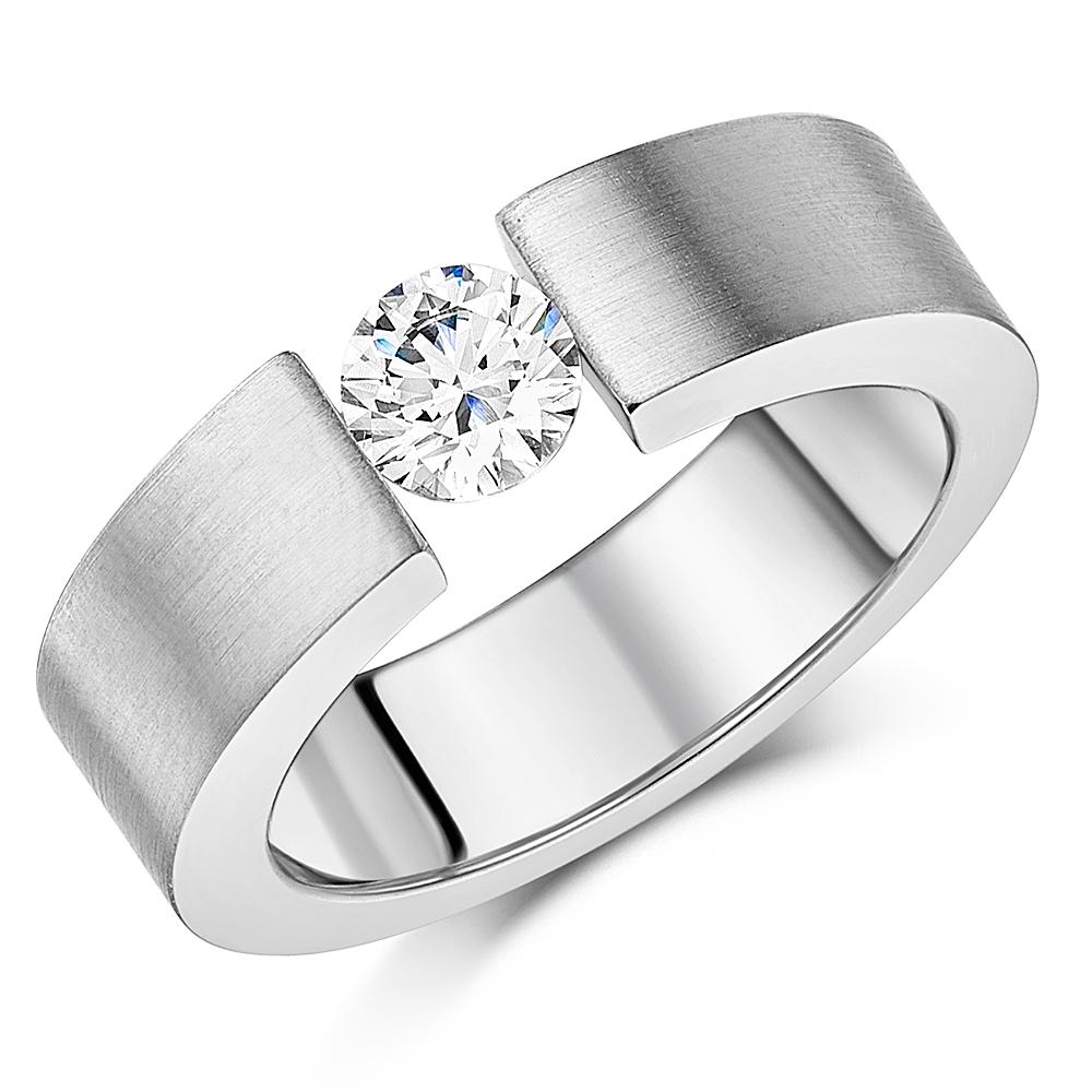 6mm 0.85ct CZ Matt Finish Engagement Ring