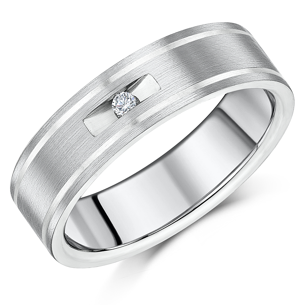 7mm Men's Titanium Engagement Ring Two Tone Diamond Wedding Ring Band