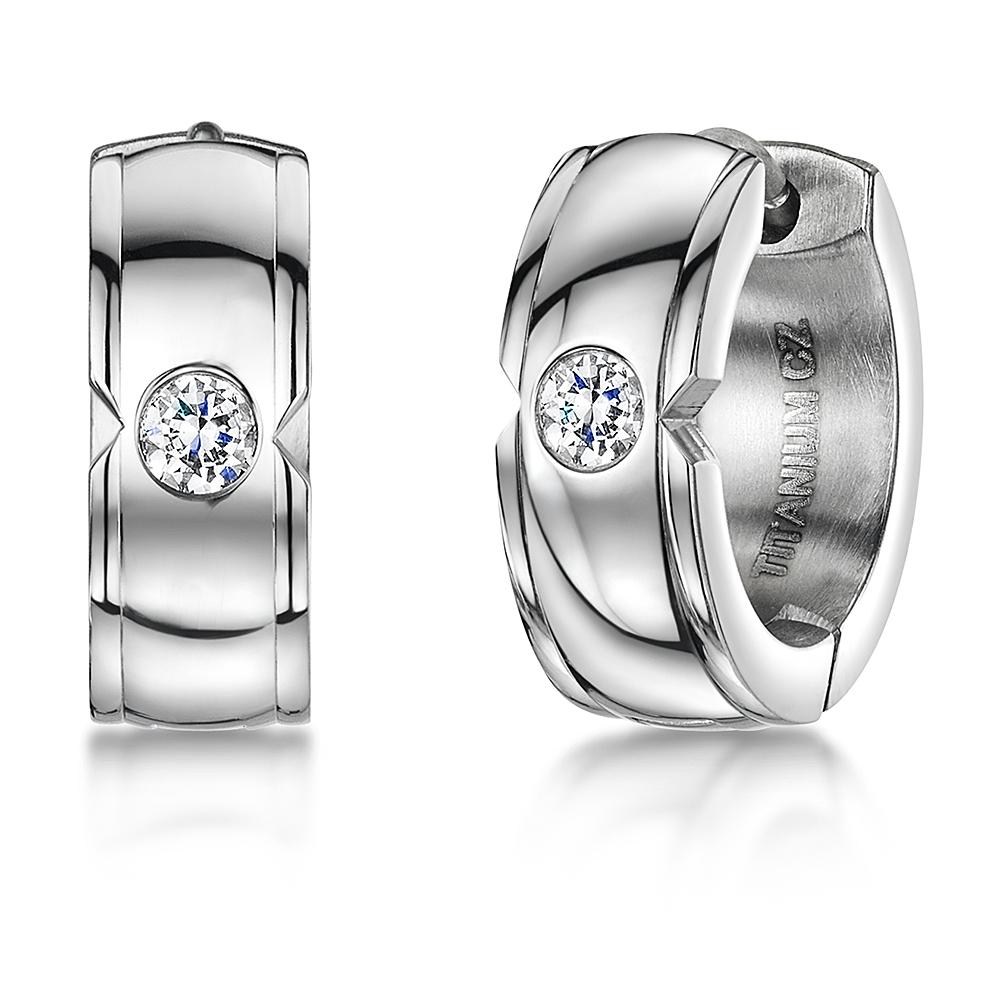 Men's Titanium Diamond look Earrings CZ Stone Hoop Pair or Single Earring