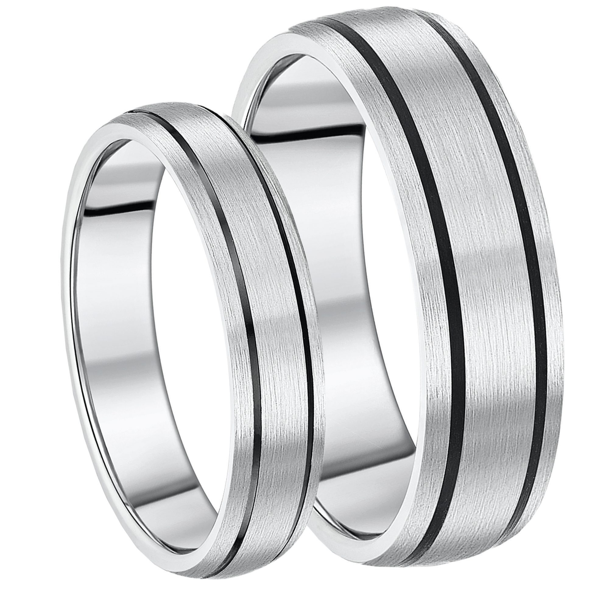 5&7mm Titanium Black Enamelled Wedding Rings