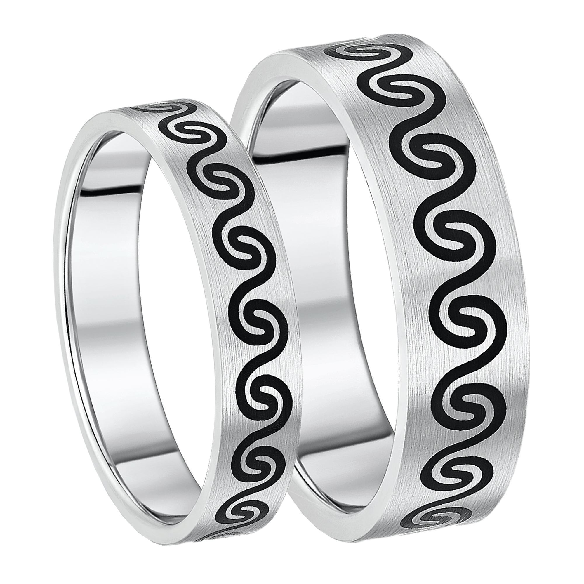 His & Hers Titanium Wedding Rings Celtic - Black Enamelled 5&7mm