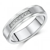 6mm Titanium Channel Set Diamond Matt & Polished Wedding Ring