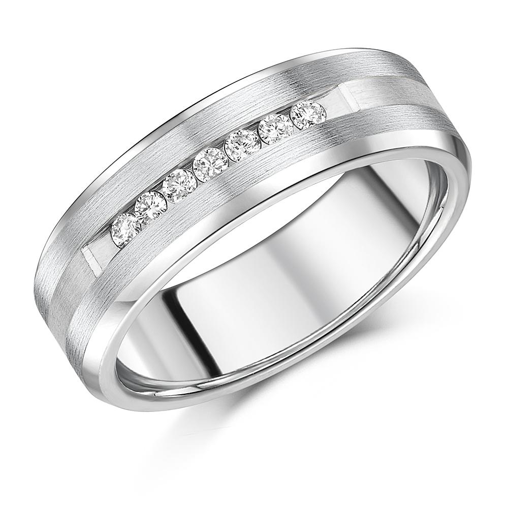7mm Titanium Engagement Ring Titanium and Silver 7 x Diamond Wedding Band