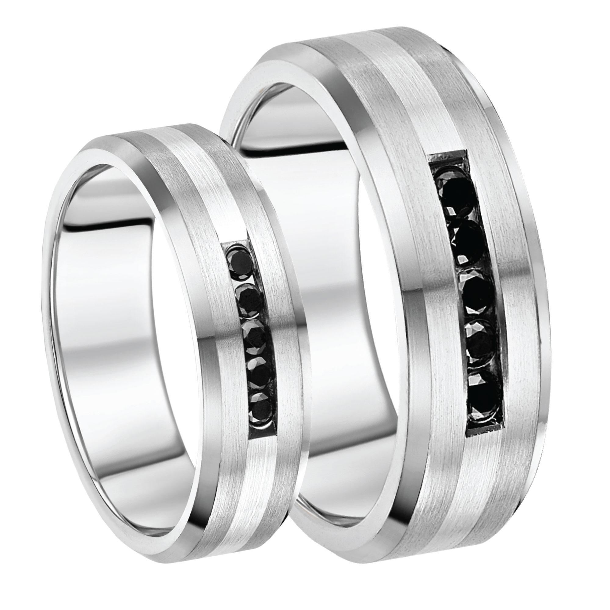 5 7mm Titanium Sterling Silver Black Diamond Wedding Rings