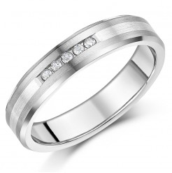 5mm Titanium & Silver Diamond Wedding Ring Band .10ct