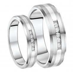 Wedding Band Sets His And Hers | Matching Titanium Wedding Ring Sets His And Hers Titanium Diamond