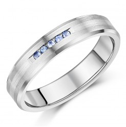 5mm Titanium & Silver Sapphire Wedding Ring Band .10ct