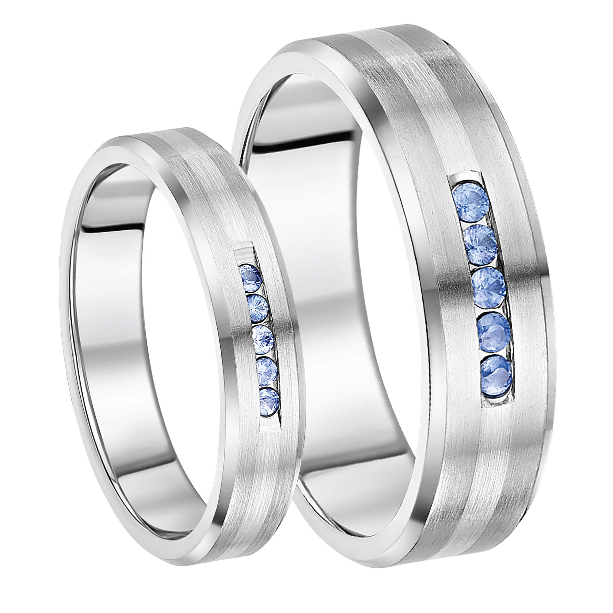 5 7mm Titanium Silver Stripe Blue Sapphire Wedding Rings