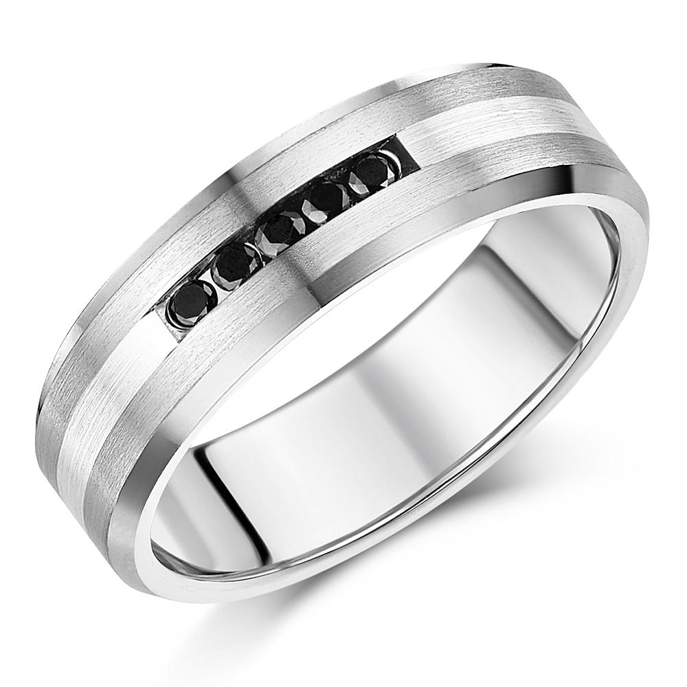5mm Titanium & Sterling Silver Black Diamond Wedding Ring