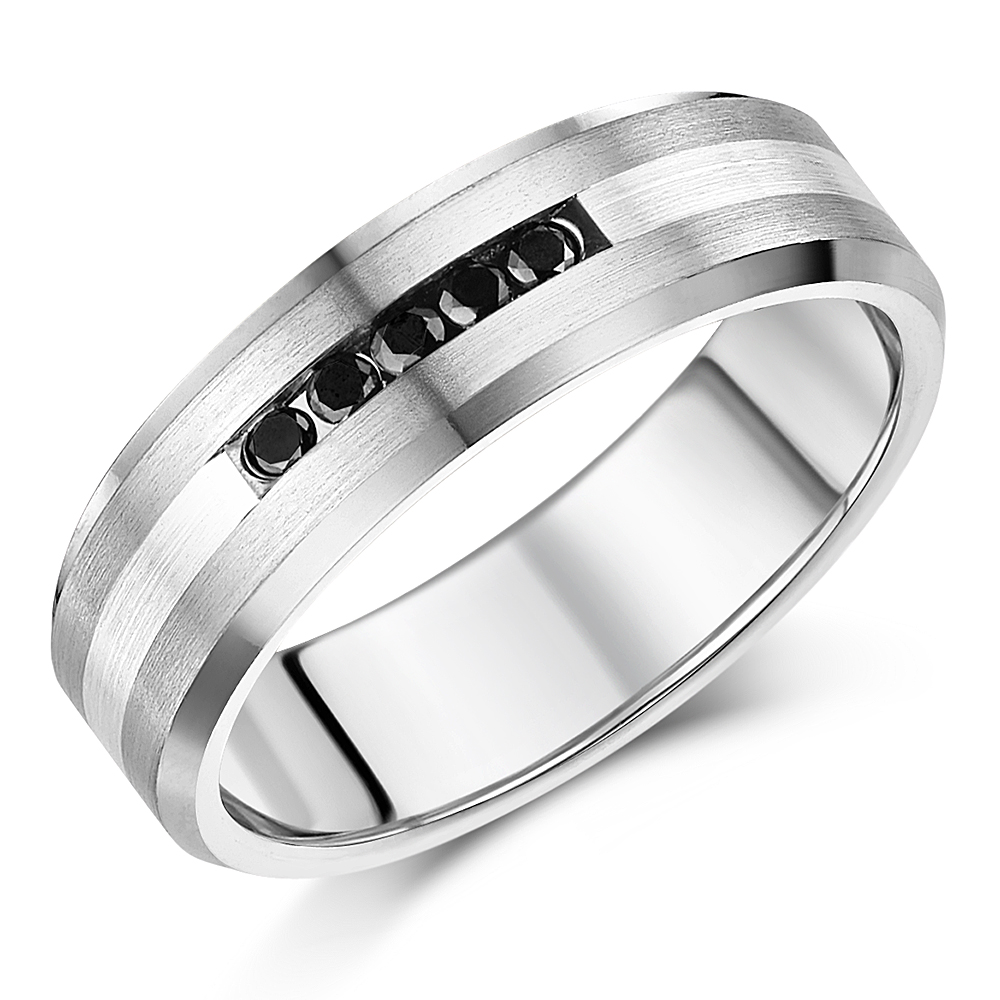 7mm Titanium Sterling Silver Black Diamond Wedding Ring Titanium