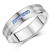 7mm Men\'s Sapphire Engagement Ring Titanium & Silver Wedding Ring .15ct