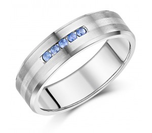 7mm Men's Sapphire Engagement Ring Titanium & Silver Wedding Ring .15ct