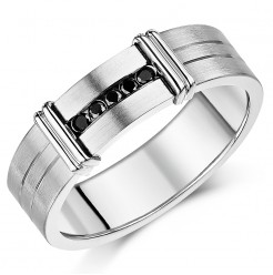7mm Designed Titanium Black Diamond Wedding Ring Band