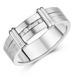 7mm Designed Titanium Diamond Wedding Ring Band