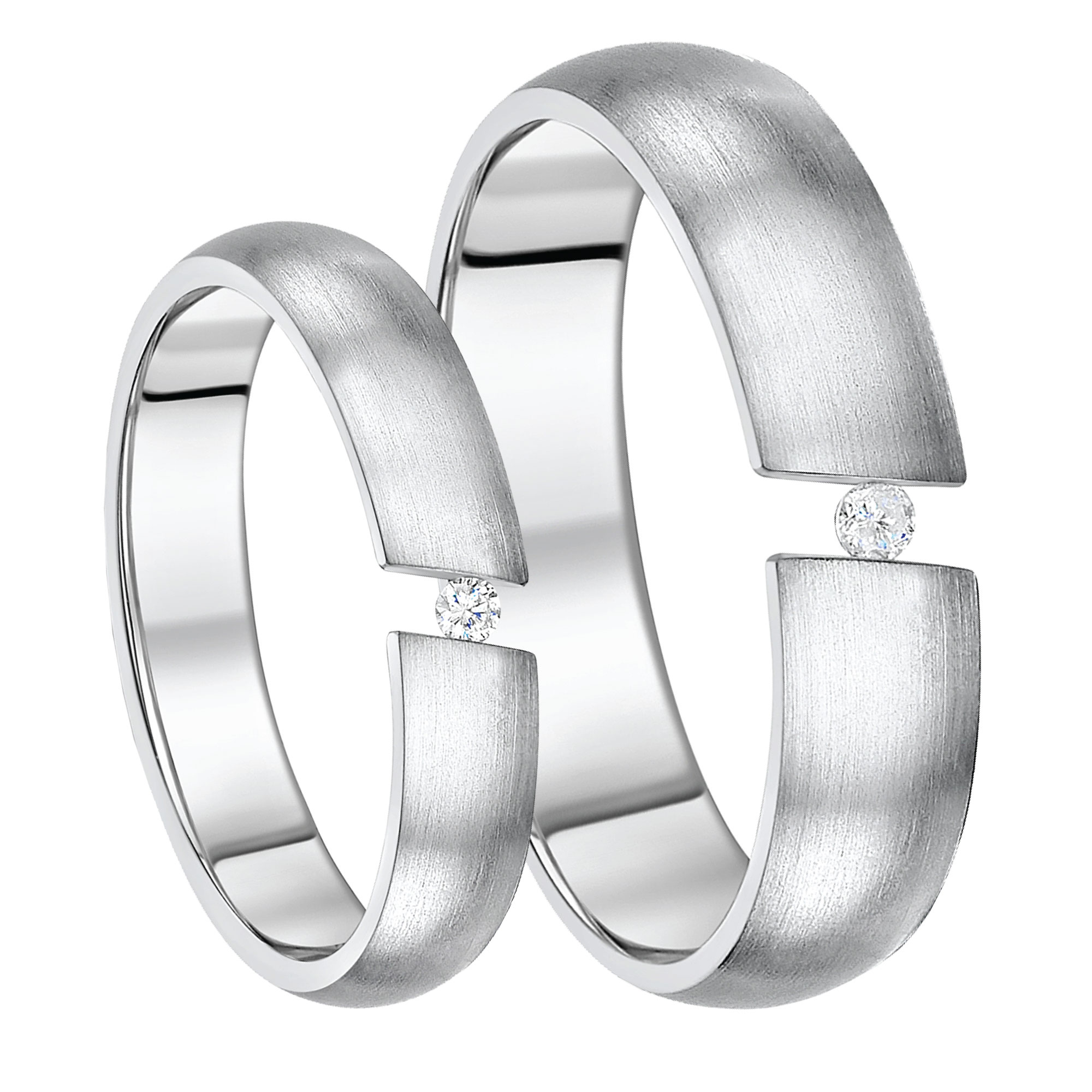 His & Hers Titanium Tension Diamond Set 5&6mm Rings