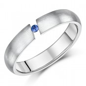 4.5mm Ladies Titanium Engagement Ring Tension Set Blue Sapphire Ring Unisex