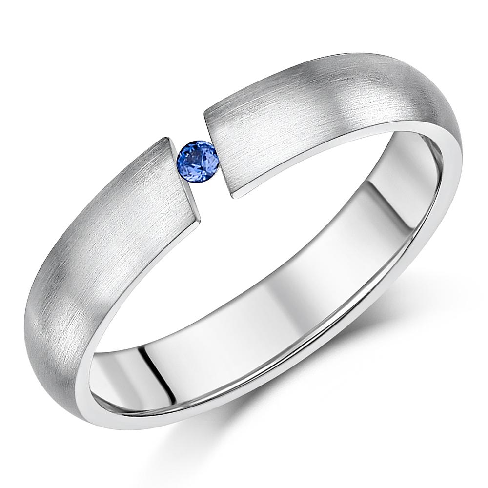 4.5mm Titanium Tension Set Blue Sapphire Ring