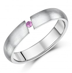 4.5mm Titanium Pink Sapphire Tension Set Wedding Ring