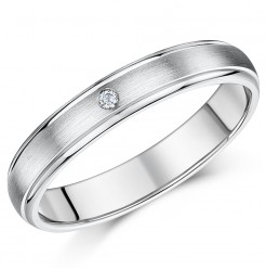 4mm Titanium Diamond Wedding Ring