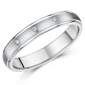 4mm Titanium Diamond Ring Ladies Three Diamond Engagement Wedding Ring