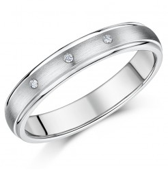 4mm Diamond Titanium 3 Stone Wedding Ring