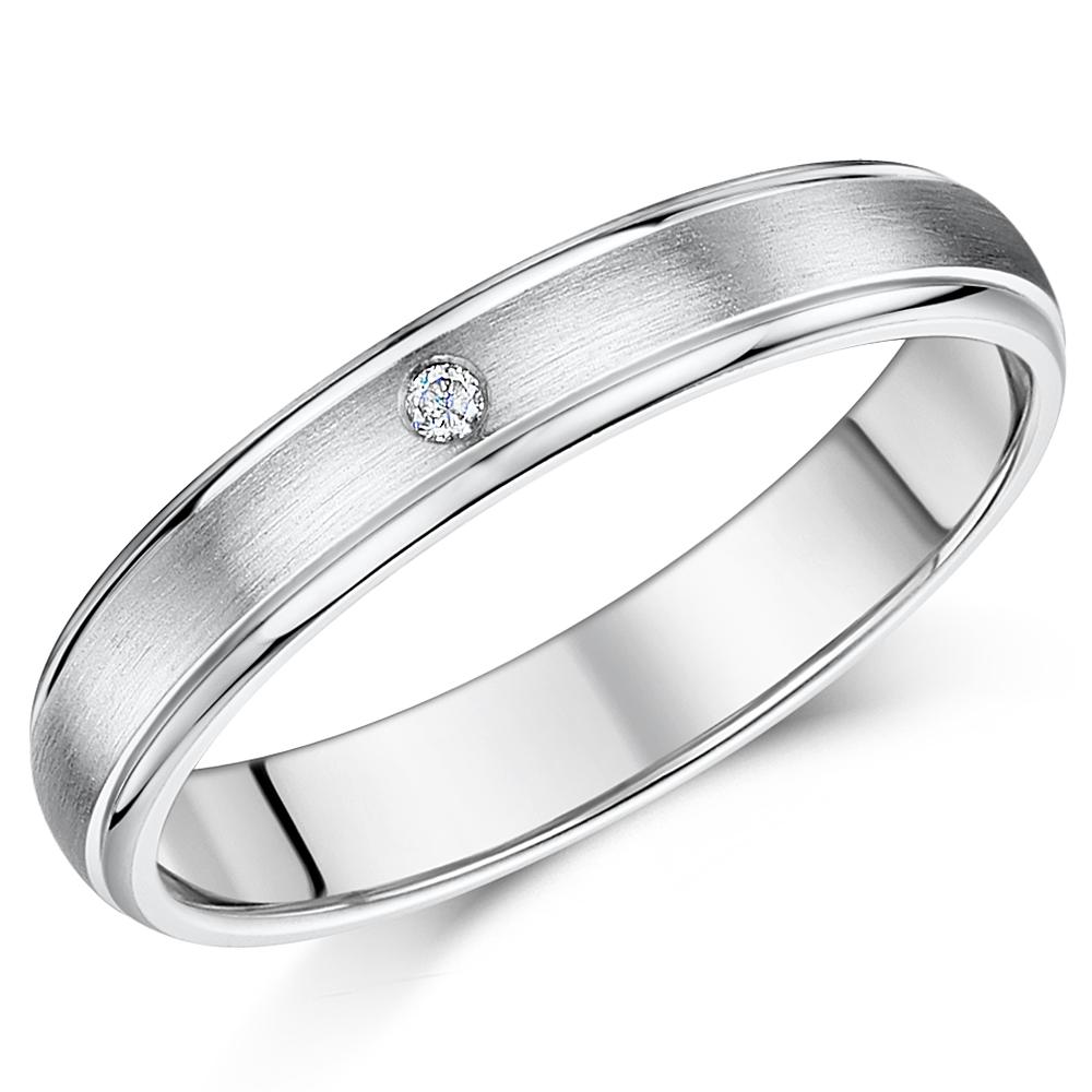 4mm Titanium Diamond Wedding Ring