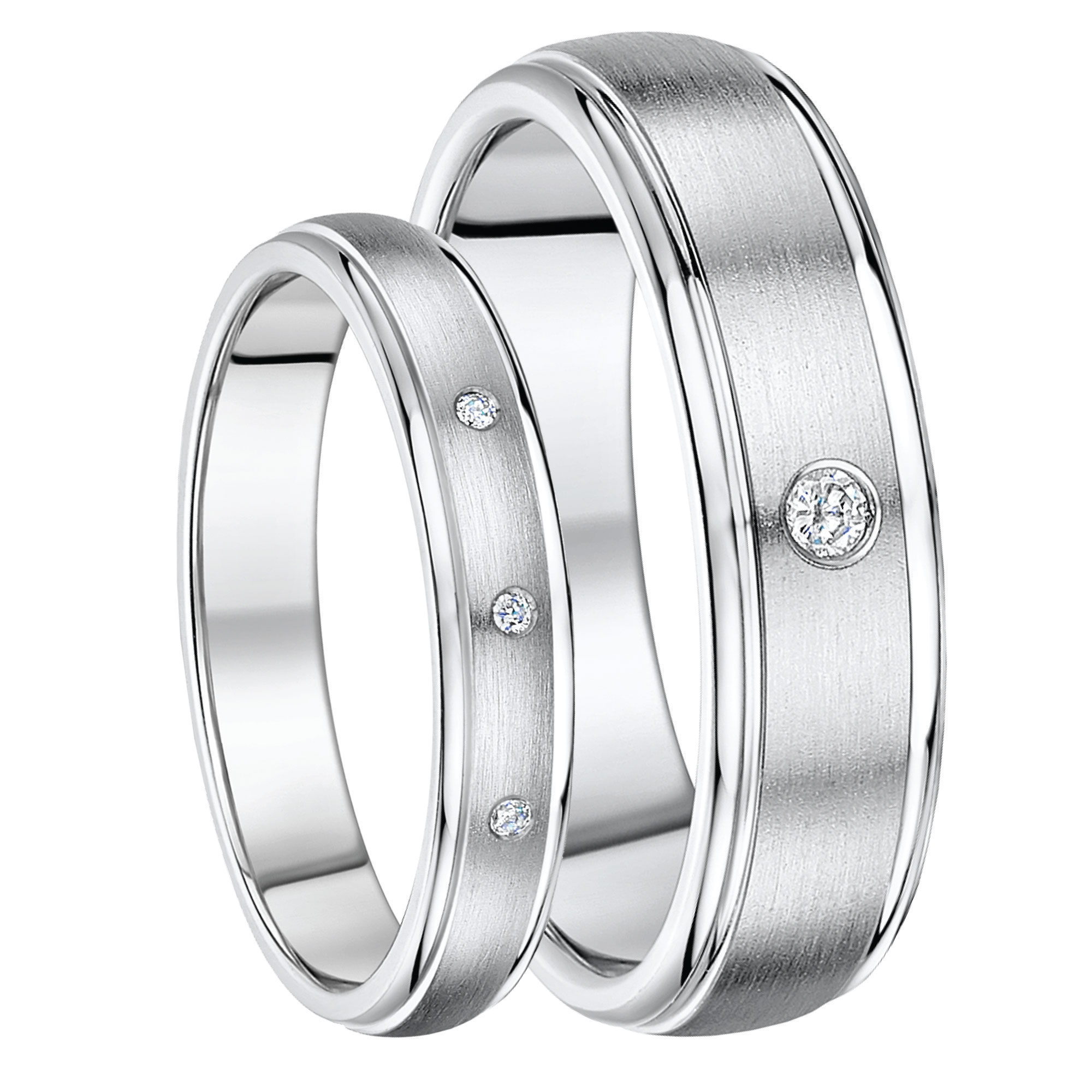 Titanium Diamond Wedding Rings 4&6mm His & Hers Rings