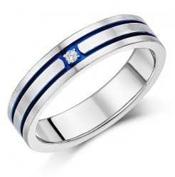 5mm Titanium Diamond Blue Grooved Engagement Wedding Ring